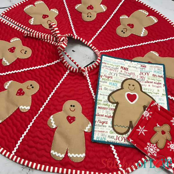 Gingerbread Man Tree Skirt, Mug Rug and Coaster